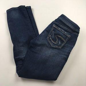 Silver Jeans Elyse Straight Dark Mid Rise Sz 28